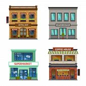 foto of shopping center  - Vintage street view with office center shop coffee house and supermarket icons set abstract isolated  vector illustration - JPG