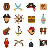 picture of pirate flag  - Pirate accessories symbols flat icons collection with wooden treasure chest and jolly roger flag abstract vector illustration - JPG