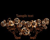 picture of steampunk  - Abstract mechanical background with floral elements vector illustration - JPG
