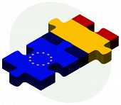 pic of chad  - European Union and Chad Flags in puzzle isolated on white background - JPG