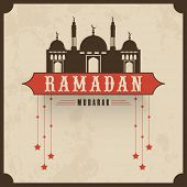 stock photo of ramadan mubarak card  - Vintage poster or greeting card design with mosque and hanging stars for Islamic holy month or prayers - JPG