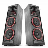 picture of speaker  - Speakers boxes audio music concert two isolated high big - JPG