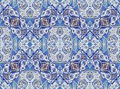 picture of vivid  - Photo collage and manipulation digital technique decorative style ornament seamless pattern filigree motif in vivid blues and white colors - JPG