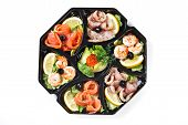 stock photo of buffet catering  - buffet box with cover set catering canape isolated - JPG