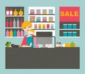pic of cashiers  - Atractive Cashier Woman Working  With Smile In The Supermarket - JPG