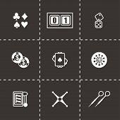 stock photo of poker machine  - Vector Casino icon set on black background - JPG