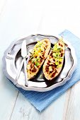 image of aubergines  - stuffed aubergines with minced meat tomatoes and feta cheese  - JPG
