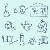 picture of h20  - Science icons set school laboratory chemistry biology experiment investigation and observation hand drawn doodle sketch style - JPG