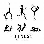 stock photo of yoga silhouette  - yoga poses silhouettes Vector yoga illustration - JPG