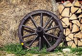 picture of firewood  - Wooden wheel firewood and hay - JPG