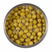 pic of green pea  - Canned green peas in tin on white - JPG