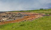 foto of tide  - Icelandic beach at low tide in summer - JPG
