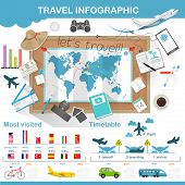 foto of passport template  - Travel infographic preparation for the trip vector illustration - JPG