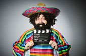 image of hairy  - Funny hairy mexican with movie clapper - JPG