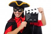 foto of zorro  - Young man in carnival coat with clapper isolated on white - JPG