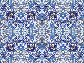 pic of motif  - Photo collage and manipulation digital technique decorative style ornament seamless pattern filigree motif in vivid blues and white colors - JPG