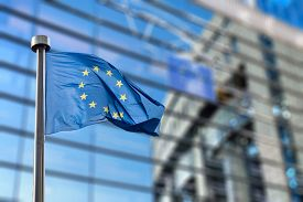 picture of union  - European Union flags in front of the blurred European Parliament in Brussels - JPG