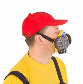 stock photo of respirator  - Worker in hat with respirator - JPG