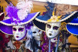 foto of venice carnival  - Venetian masks in store display in Venice - JPG