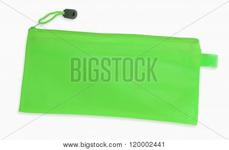 A Green Pencil Case Isolated On White Background