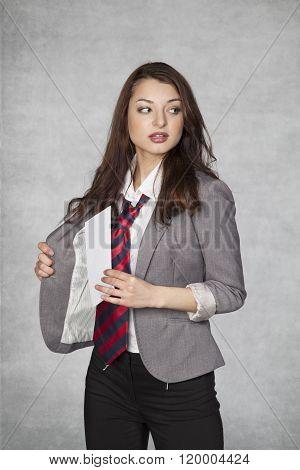 Business Woman Hiding Envelope