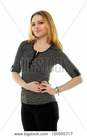 Casual Teenage Girl On White