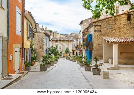 Provencal street with typical houses in southern France, Provenc