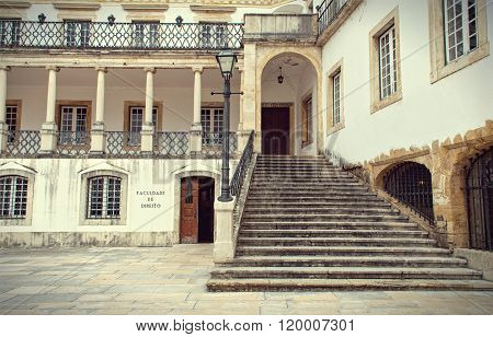 COIMBRA, PORTUGAL - JANUARY 19: A part of the facade of the Coimbra University - a famous and the oldest european university on January 19 in Coimbra, Portugal. Lettering: Law school.