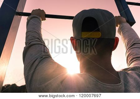 Young Man Training At The Park Outdoor - Fit Guy Exercising At Sunrise