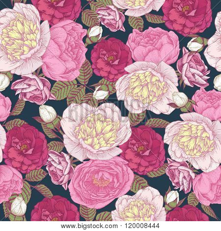 Floral seamless pattern with peonies and roses