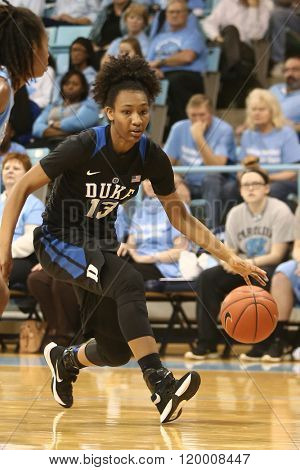 CHAPEL HILL, NC-FEB 28: Duke Blue Devils guard Crystal Primm (13) dribbles the ball against the University of North Carolina Tar Heels on February 28, 2016 at Carmichael Arena.