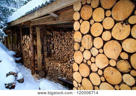 icicles on the house, logs closeup, pine logs, russian winter