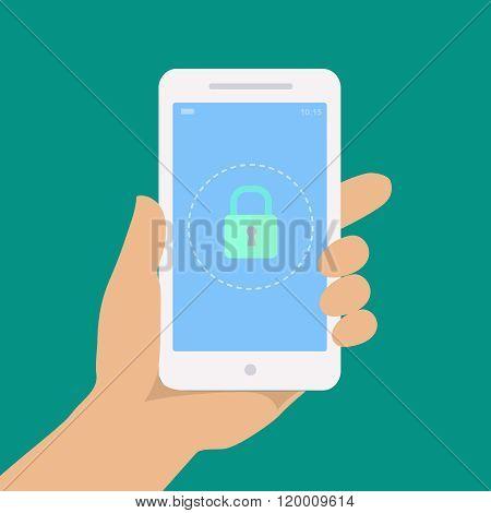 Smartphone lock screen. Hand hold smartphone,
