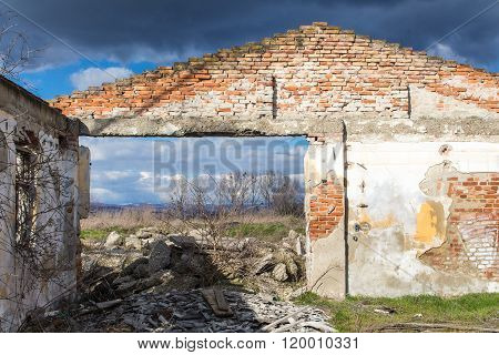 Frontage Of An Abandoned House Without A Roof