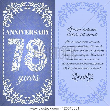 Luxury Template With Floral Frame And A Decorative Pattern For The 78 Years Anniversary. There Is A
