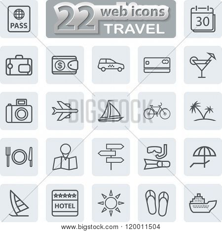 Travel Symbols and Tourism Icons. Modern Web Collection Isolated on white background. Illustration.