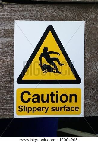 Schilder, Vorsicht - rutschigen Oberfläche