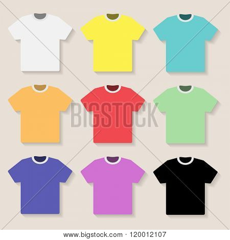 Illustration of Tshirt on a light background. Set,