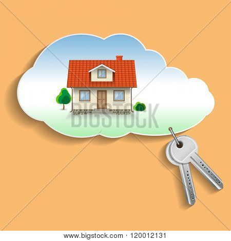 Private House in the Cloud with the Keys. Business Concept, Credit, Security. Illustration,
