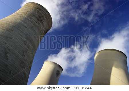 Cooling Towers at an electricity generating station.