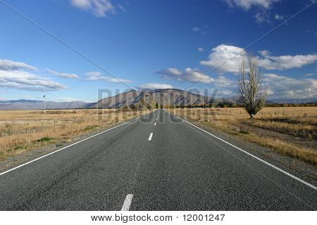Open empty road. New Zealand
