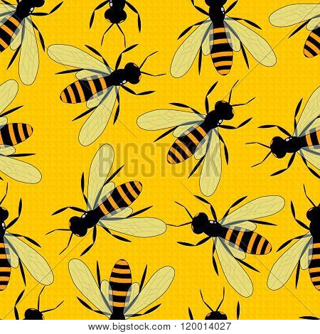 Bees Seamless Pattern. Bright Yellow Background With Large Bees. Toilers Of The Apiary.