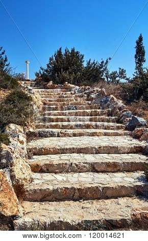 Stone staircase and lonely column on the island of Kos