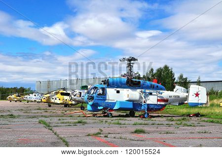 Various Helicopters  At The Parking  In Pulkovo Airport In Saint-petersburg, Russia