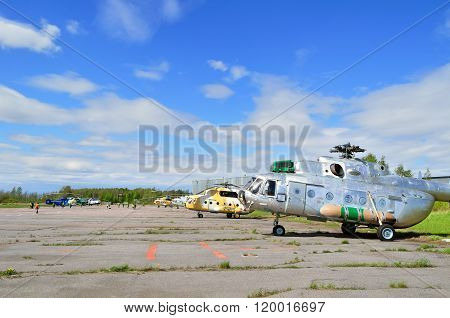 The Mil Mi-171Sh  Helicopters Of Algerian Air Force In Pulkovo Airport In Saint-petersburg, Russia