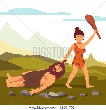 Stone age primitive woman drawing bearded man