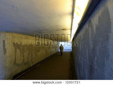Solitary figure in subway