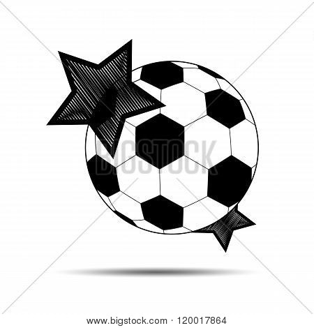 Soccer Balls And Stars On A White Background.vector