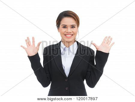Asian Business Woman With Hands Extended Smiling Isolated On White Background