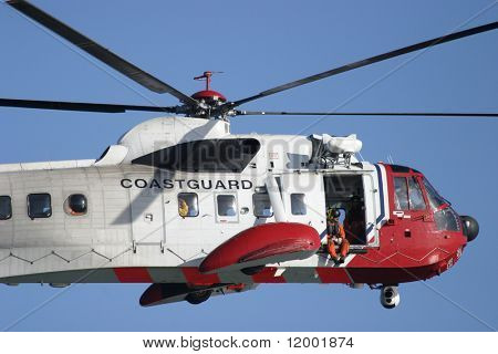 Coastguard Rescue Helicopter in flight